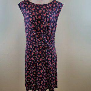 Loft Navy Floral Wrap Midi Dress